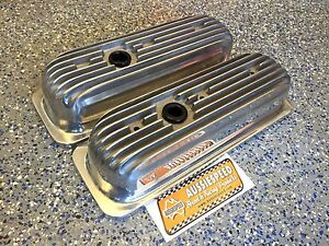 Polished Finned Aluminum Chevy 4 3 V6 Valve Covers Hot Rod Tall Roller Rockers
