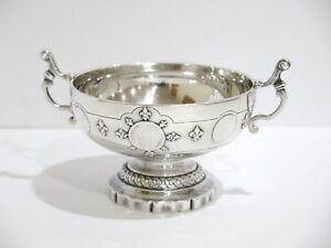 6 75 In European Silver Antique German Coin Center Footed Serving Bowl Trophy