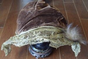Antique Handmade Brown Velvet Metallic Gold Lace Hat