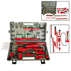 Red 10 Ton Hydraulic Jack Body Frame Repair Air Pump Autobody Tool Kit