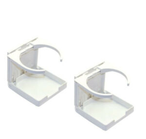 2 White Adjustable Folding Cup Drink Holder For Boat Car Rv With Hardware