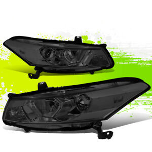 For 08 12 Honda Accord Coupe Pair Projector Headlight Lamp 09 10 11 Smoked clear