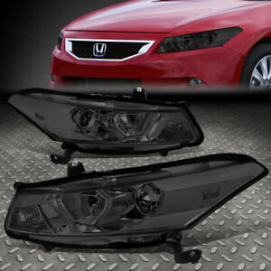 For 08 12 Honda Accord Coupe Smoked clear Corner Projector Headlight Head Lamps