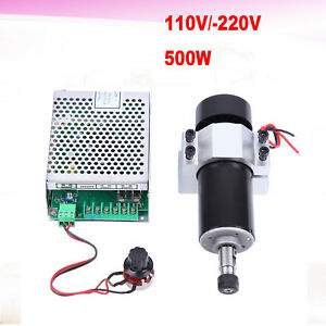 500w Air Cooling Cnc Spindle Motor 110v Speed Governor 52mm Clamps