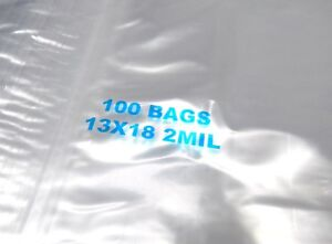 300 13x18 Ziplock Bags Clear 2 Mil Poly Reclosable Large Jumbo Size 13 X 18