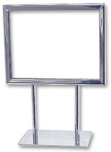 Counter Top Display Sign Holder Card Frame Holder 7 X 5 5h Chrome Lot Of 10 New