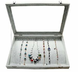 Wuligirl Ice Velvet 20 Hooks Jewelry Showcase For Necklaces Jewelry Box Stack