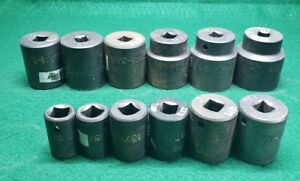 Lot Of 12 Proto Impact Sockets 1 2 Drive 6 Point 9 16 To 1 1 2 Free Shipping