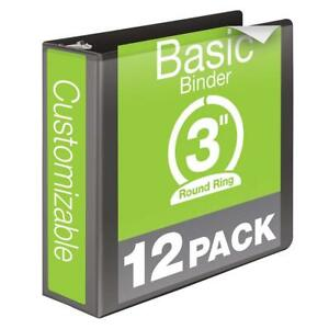 Wilson Jones 3 Inch 3 Ring Binder Basic Round Ring View Binder Black 12 Pack