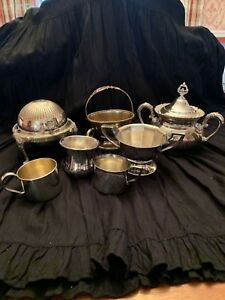 Lot Of Vintage Shabby Chic Victorian Silverplate Decorative Pieces