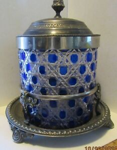 Antique Victorian Ice Bucket Cobalt Design On Clear Glass In A Silverplate Mount