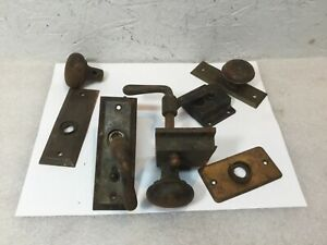 Lot Of Vintage Antique Door Latch Door Knobs Backing Plate Hardware Parts