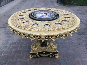 Beautiful French Antique Centrum Table Louis Xvi Bronze And Porcelain