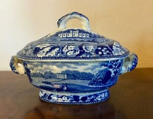 Antique 19th Century Staffordshire Pearlware Pottery Blue White Sauce Tureen