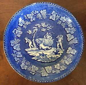 Antique Early 19th C Staffordshire Pearlware Pottery Plate Bowl Blue