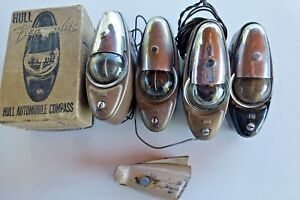 4 Vintage 1940s 1950s Hull Auto Compass Accessories Various Conditions