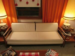 Reduced Mid Century Modern Sofa Daybed Convertible New Foam And Upholstery