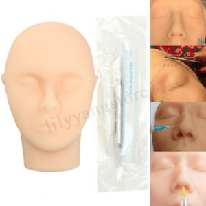 Suturing Training Kit Silicone Face Skin Suture Practice Head Injection Model