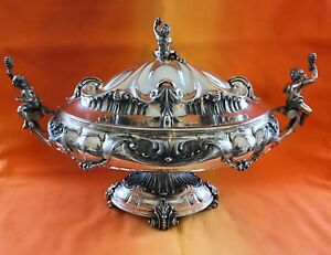 Top Important Soup Tureen Centerpiece Sterling Silver Bowl Putti Cherubs Italy