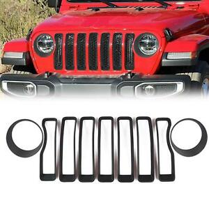 Front Grille Inserts Covers Headlight Cover For 2018 Jeep Wrangler Jl Black