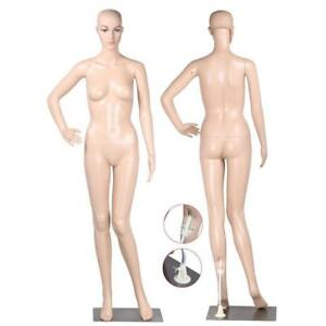 New Realistic Full Body Female Mannequin Display Head Turns Dress Form W base