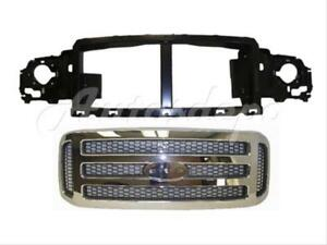 For Ford Super Duty 2005 07 Excursion 2005 Header Panel Grille Chr W honeycomb