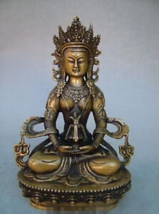 8 4 Old Antique Chinese Ancient Collection Brass Bronze Tibet Buddha Statue