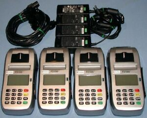 Lot Of 4 First Data Fd100 Ti Pos Credit Card Readers Power Supplies Fd100ti