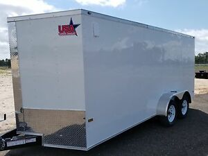 7x16 7 X 16 Enclosed Trailer Cargo V nose Ramp Motorcycle 14 Utility 18 In Stock