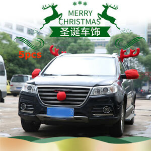 5pc Big Reindeer Antlers Nose Mirror Cover Red Car Christmas Decor Accessories