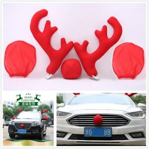 Hot Cute Red Antlers Nose Mirror Cover Car Christmas Decor Tools For Universal