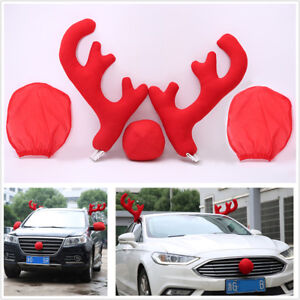 Lovely Antlers Nose With Mirror Cover Car Vehicle Costume Christmas Decor Tools