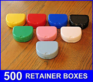 500 Mixed Color Denture Retainer Box Orthodontic Dental Case Mouth Ortho Brace