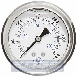 Liquid Filled Pressure Gauge 0 3000 Psi 2 5 Face 1 4 Back Mount Wog