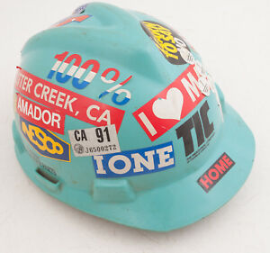 Turquoise Msa Hard Hat W Stickers Ione California Sutter Creek Amador c1l 90s
