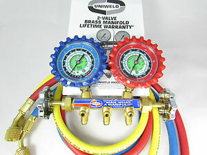 A c Manifold Gauges Uniweld Brass Body For R134a R22 R12 And 36 Hoses