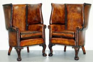 Pair Of Huge Claw Ball Barrel Back Porters Wingback Armchairs Brown Leather