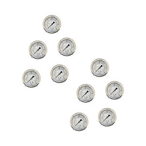 10 Pack Liquid Filled Pressure Gauge 0 30 Psi 2 5 Face 1 4 Back Mount Wog