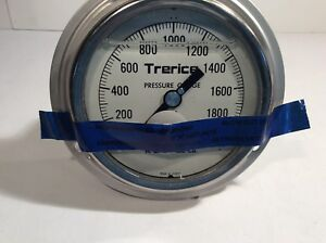 Trerice High Pressure Gauge 0 2000 Psi 4 Stainless Steel