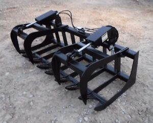 Skid Steer Tractor Attachment 72 Dual Cylinder Root Grapple Bucket 99 Ship