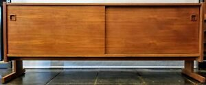 Mid Century Danish Modern Teak Credenza With Sliding Doors And Cantilever Legs
