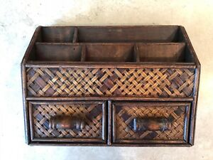 Large Woven Wood Desk Office Organizer Compartments Drawers Caddy India