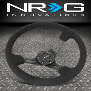 Nrg Reinforced 350mm 3 Deep Spoke Black Stitch Alcantara Grip Steering Wheel