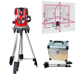 Super Rotary Laser Beam Self Leveling 8 Line 1 Point Laser Level Kit Free Tripod