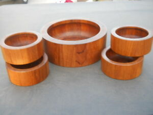 Vintage Dansk Designs Denmark Staved Wood Salad Serving Bowl Set 11 5 8 4 6