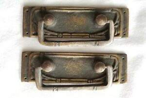 2 Vtg Antique Style French Ornate Brass Drawer Handles Pulls 3 1 4 Wide H42