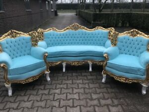 Antique Rococo Living Room Set Sofa Settee With 2 Chairs