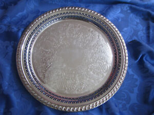 Leonard Silver Lovely Vintage 12 Inch Serving Platter Nice Condition