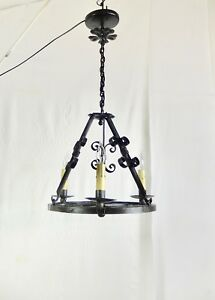 Antique Vintage Italian 3 Light Iron Chandelier New Wiring Install Ready