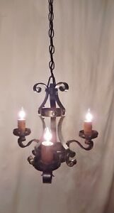 Antique Vintage Italian 3 Arm Iron Chandelier New Wiring Install Ready